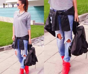 fashion, red shoes, and style image