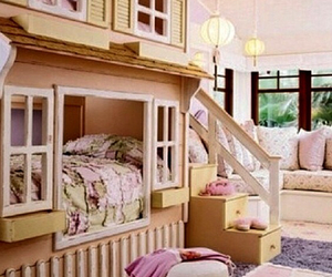 bed, pink, and room girl house image