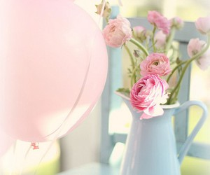 flowers, pink, and balloons image
