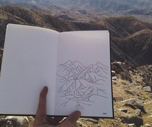 art, drawing, and mountains image