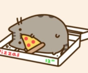 pizza and pusheen image