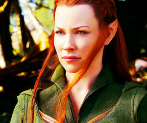 the hobbit, tauriel, and evangeline lilly image