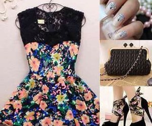 dress, flowers, and nails image