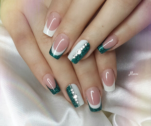 french, green, and nails image