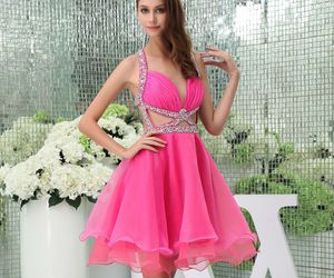 gown, pink dress, and Prom image