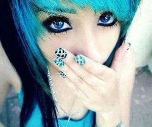 blue, hair, and scene image