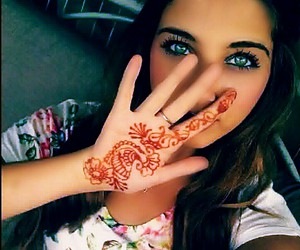girl, henna, and beautiful image
