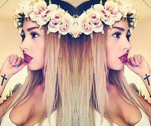 ombre, cross, and flower crown image