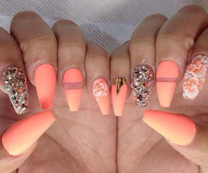 nails, coral, and pretty image