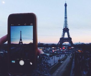 city, iphone, and eiffel image
