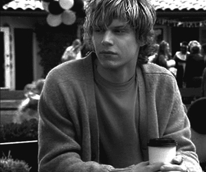 evan peters, american horror story, and black and white image