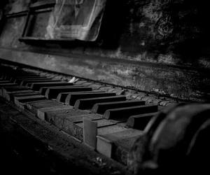 black and white, gothic, and piano image