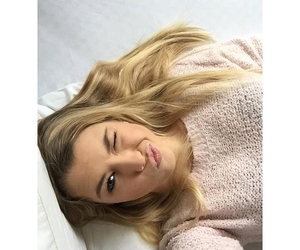 blond hair, perfect girl, and pink image