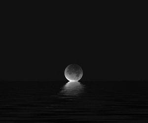 black and white, grunge, and moon image