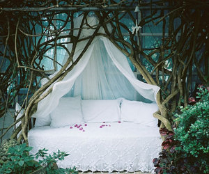 bed, white, and forest image