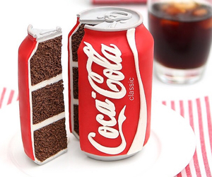 cake, coca cola, and food image