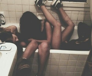 bathroom, black, and girls image