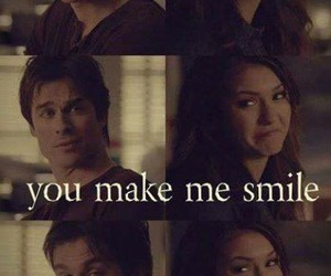 damon, elena, and smile image