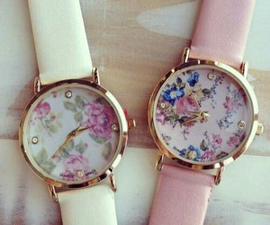 watch, flowers, and pink image