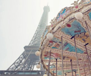 blue, carousel, and eiffel tower image