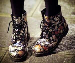boots, floral, and shoes image