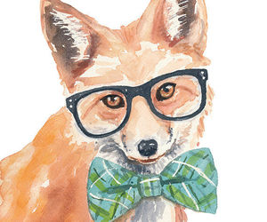 fox, cute, and watercolor image
