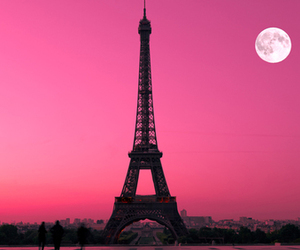 paris, pink, and moon image