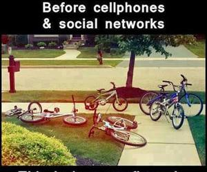 friends, bike, and cellphone image