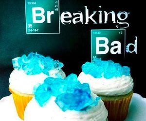 breaking bad, blue, and cupcakes image