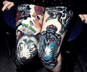 tattoo, wolf, and legs image