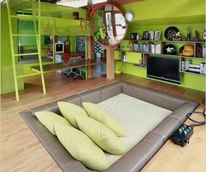 room, green, and bedroom image