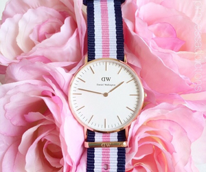 pink, watch, and flowers image