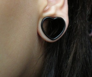 earrings, heart, and hearts image