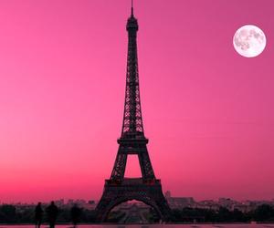 paris, pink, and moon image