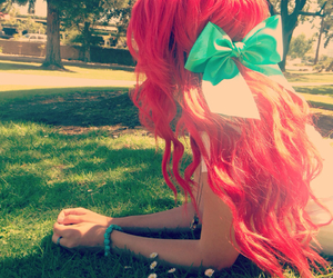 ariel, bows, and colorful hair image