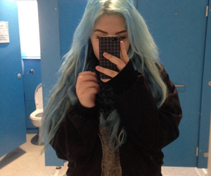 blue hair, pale, and site model image