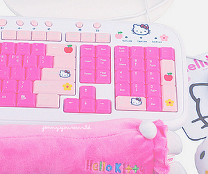 hello kitty, keyboard, and pink image