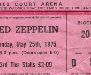 ticket, led zeppelin, and concert image