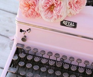 pink, typewriter, and writing image