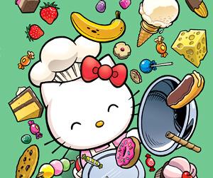 chef, food, and hello kitty image