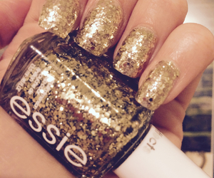 glitter, gold, and essie image