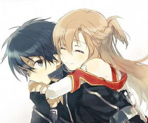 game, hug, and kirito image