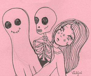 pink, drawing, and ghost image