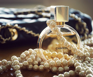 chanel, perfume, and pearls image