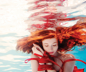 girl, red, and water image