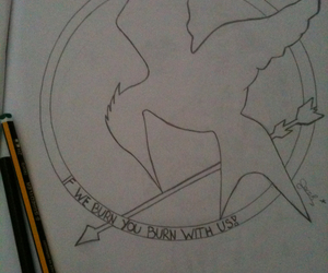 draw, hunger games, and mockingjay image