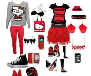 clothes, hello kitty, and teens image