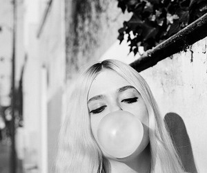 black and white, bubblegum, and girl image