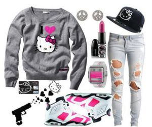 hello kitty, swag, and pink image
