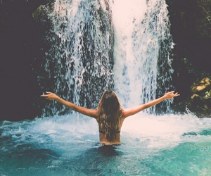girl, happy, and waterfall image